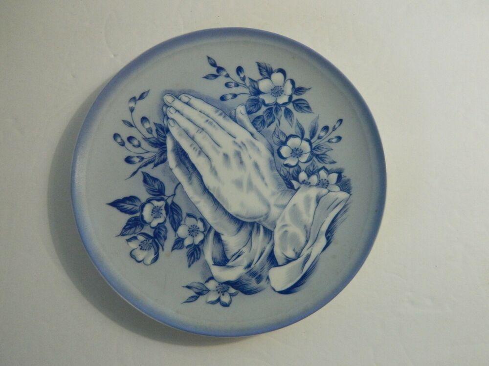 Decorative Plate Porcelain Praying Hands Flowers Blue White 8 Japan Hand Flowers Praying Hands Decorative Plates
