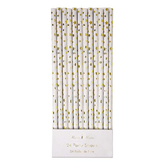 Paper Straws with gold foil stars - set of 24.  Gold paper party straws by Meri Meri. Twinkle Twinkle Little Star party straws.  NYE straws