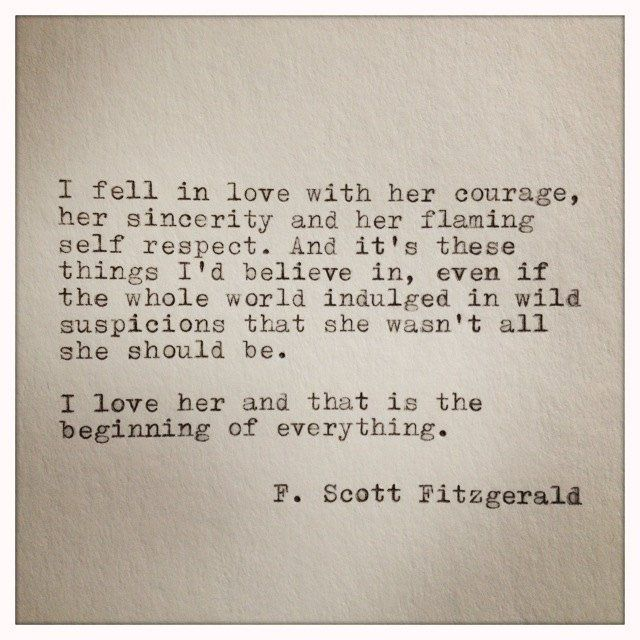 F Scott Fitzgerald Typewriter Quote On Love Handtyped Quote