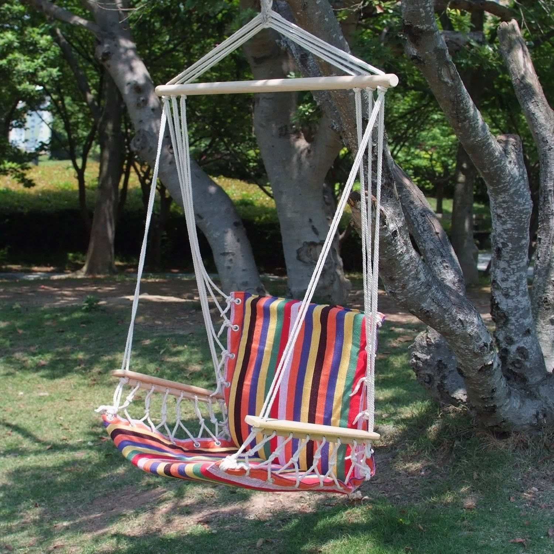 Naval Cotton Fabric Canvas Tree Hanging Suspended Outdoor Indoor Hammock  Chair