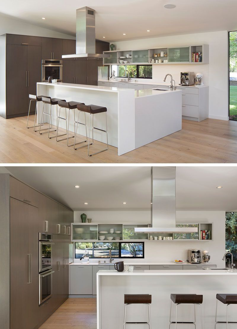 This modern kitchen has plenty of storage and the lshaped island