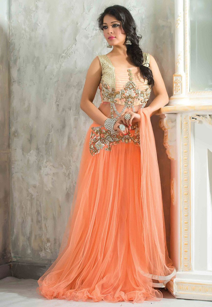 Peach net readymade gown tvc dresses pinterest peach