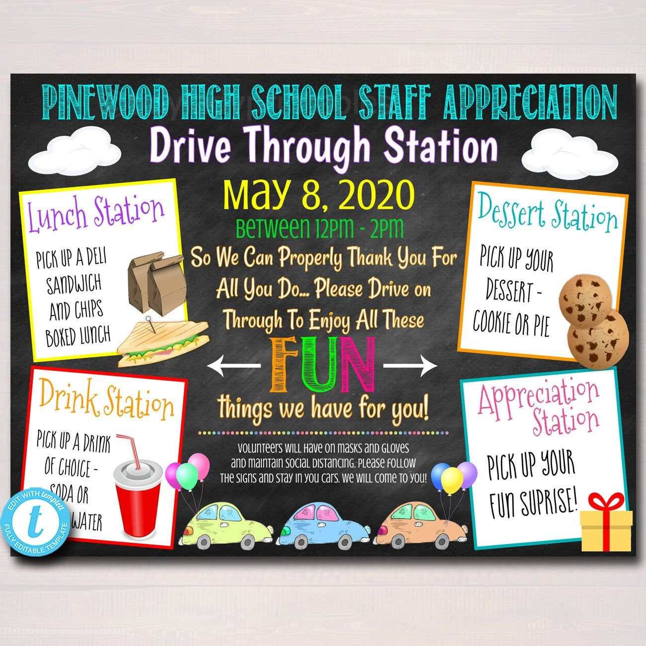 Virtual Teacher Appreciation Drive By Station Teacher Parade Etsy In 2021 Teacher Appreciation School Pto Pta Fundraising