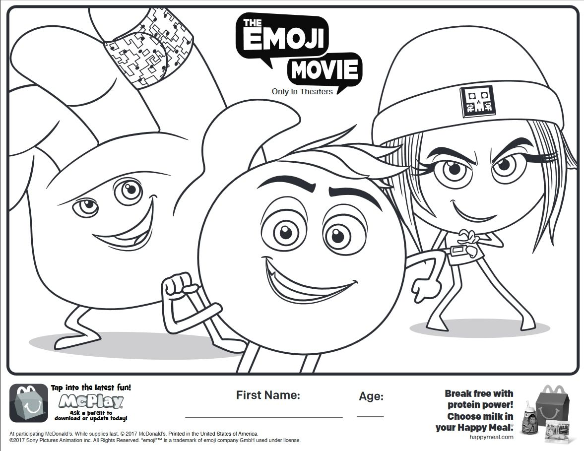 Here Is The Happy Meal The Emoji Movie Coloring Page Click