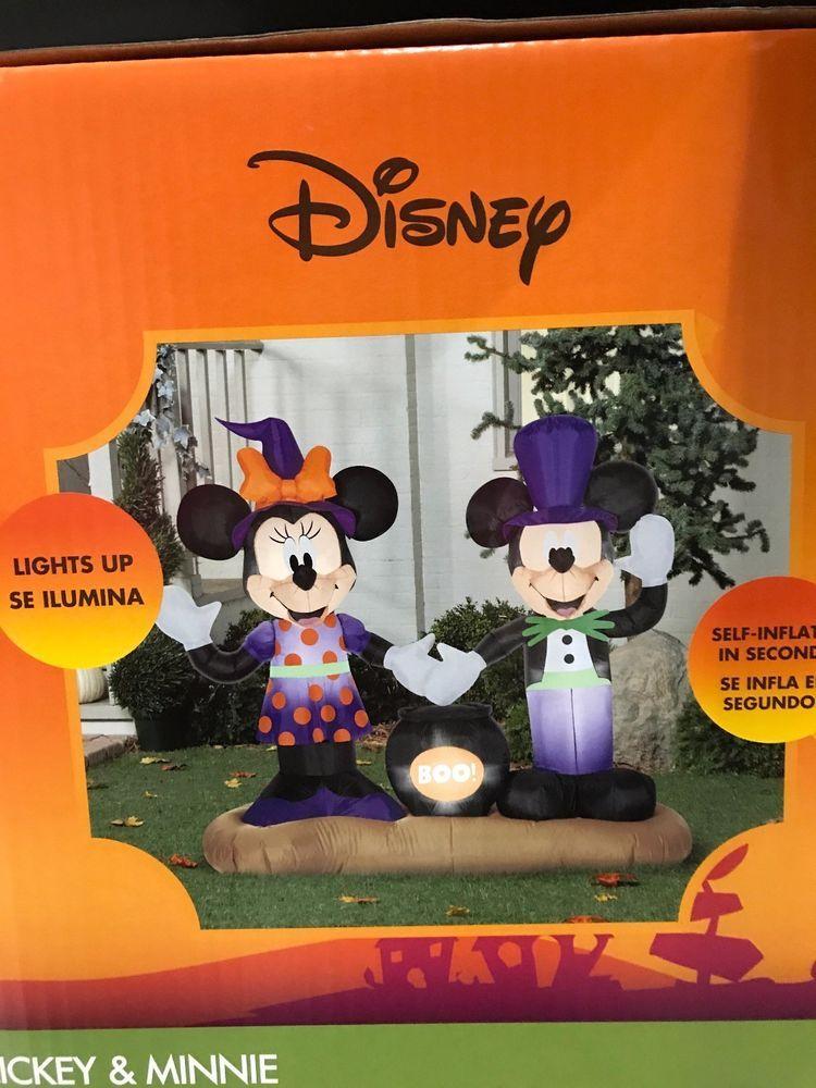 Airblown Inflatable Mickey Minnie Cauldron Scene Gemmy Disney