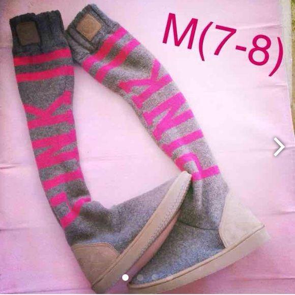 Victoria Secret Pink Mukluks Slipper Over Knee New By Size Medium 7 8 Angora Rabbit Hair Blend Knit Sweater Material