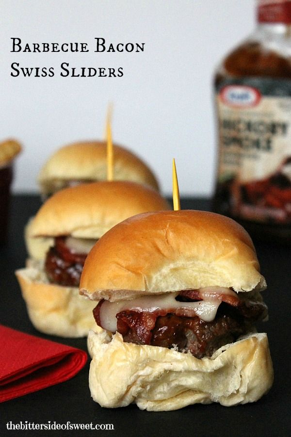 Barbecue Bacon Swiss Sliders #Evergriller #sponsored