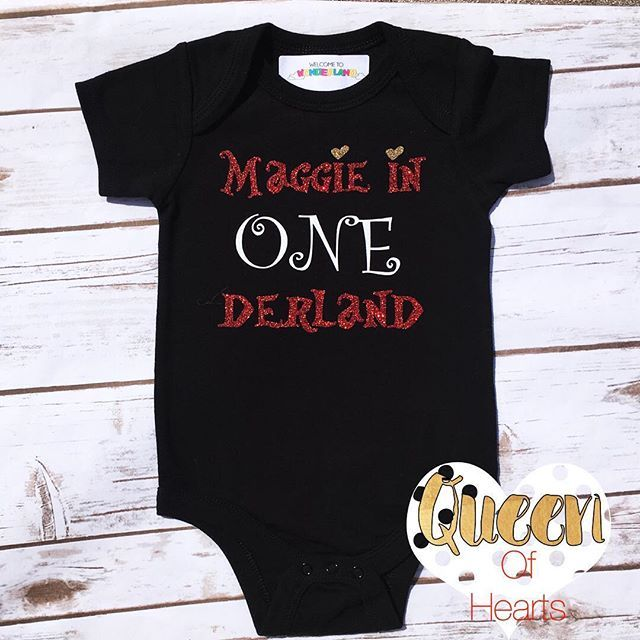 Welcome to ONEderland, Maggie! ✨❤️✨❤️✨❤️✨❤️✨ . . . #queenofhearts#onederland#aliceinwonderland#firstbirthday#wonderlandbirthday#teaparty#onederlandbirthday#aliceinwonderlandparty#custombirthdayonesie#birthdayonesie#etsy#disneytees