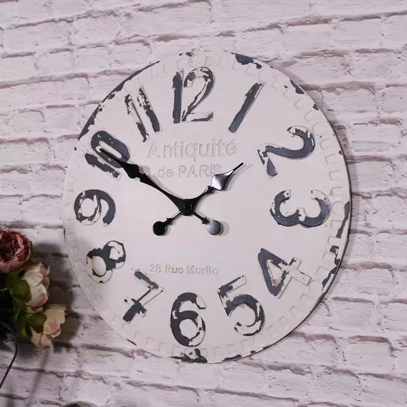 Large Antique White Vintage Wall Clock Vintage Wall Clock Wall Clock White Wall Clocks