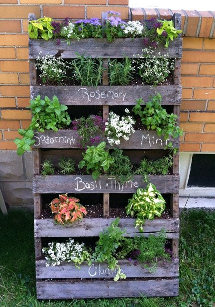 DIY Upcycled Wood Pallet Vertical Gardens is part of Herb garden pallet, Vertical herb garden, Pallets garden, Herb garden design, Pallet garden, Vertical pallet garden - How to make a wood pallet vertical garden  DIY pallet herb garden