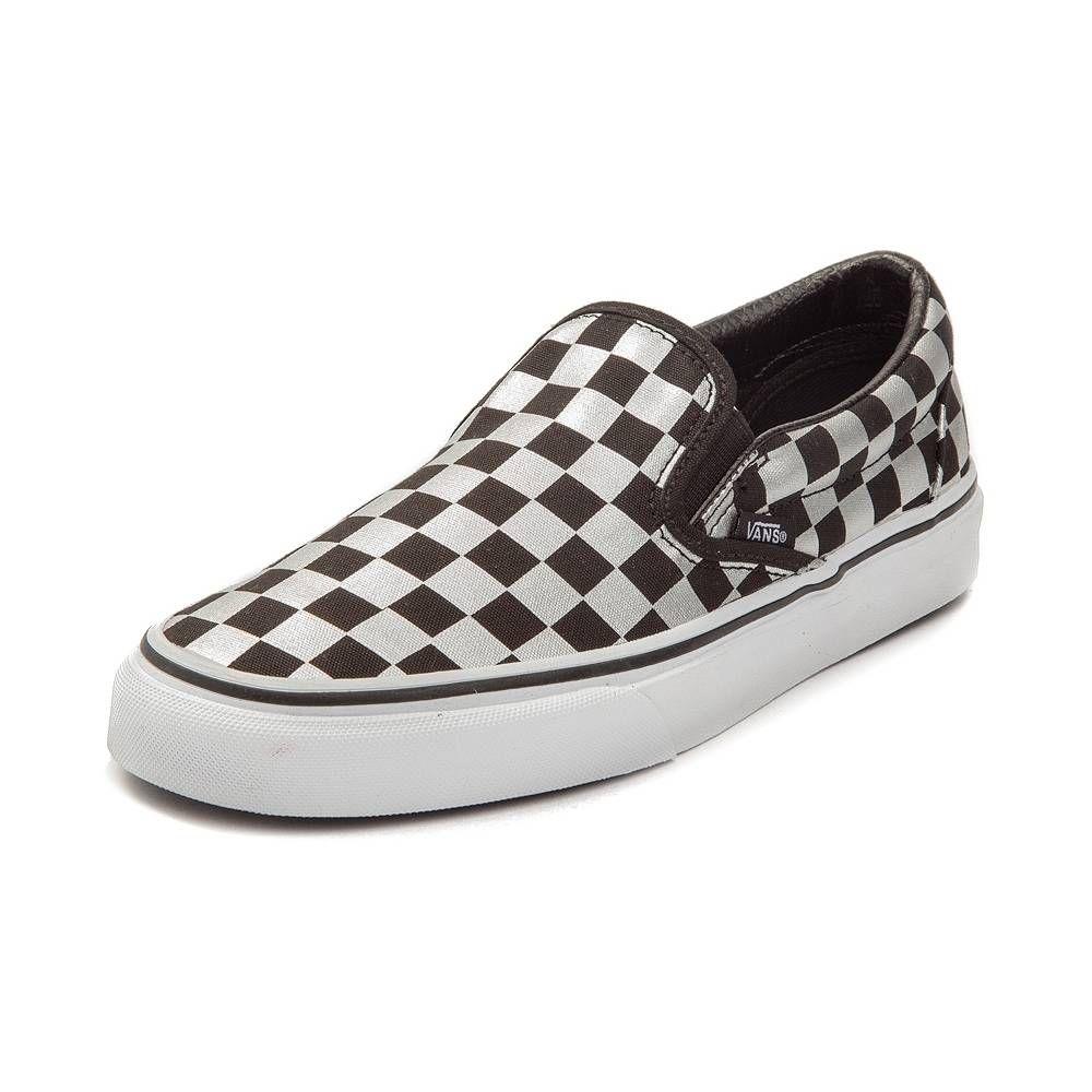 73e028a317 Vans Slip On Metallic Chex Skate Shoe - Black Silver - 497119 ...