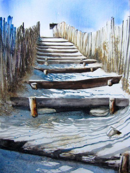 Des Marches Vers La Mer Paysage De Mer Peinture Peinture