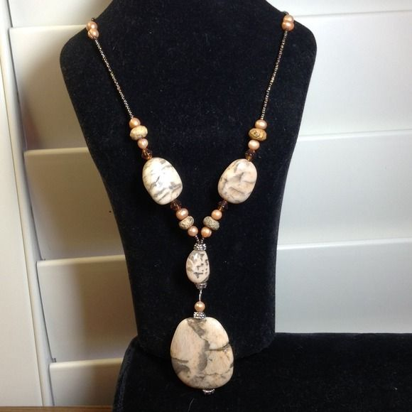 """Necklace / P Earrings.  Coral, beige, taupe, Necklace and Pierced Earrings    Coral, beige , Taupe, and Amber tones.    Pierced earrings are Lead and Nickel Free.   Necklace is approx 17"""" long x 3/4"""" wide.   Dangle stone is approx 1 1/2"""" long x 1 1/4"""" wide.   Earrings approx 1 1/2"""" long.  Never been worn. Jewelry Earrings"""