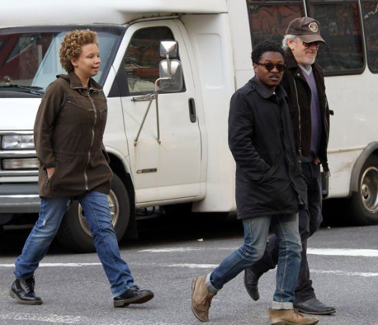 Steven Spielberg and daughter Mikaela George and son Theo ...