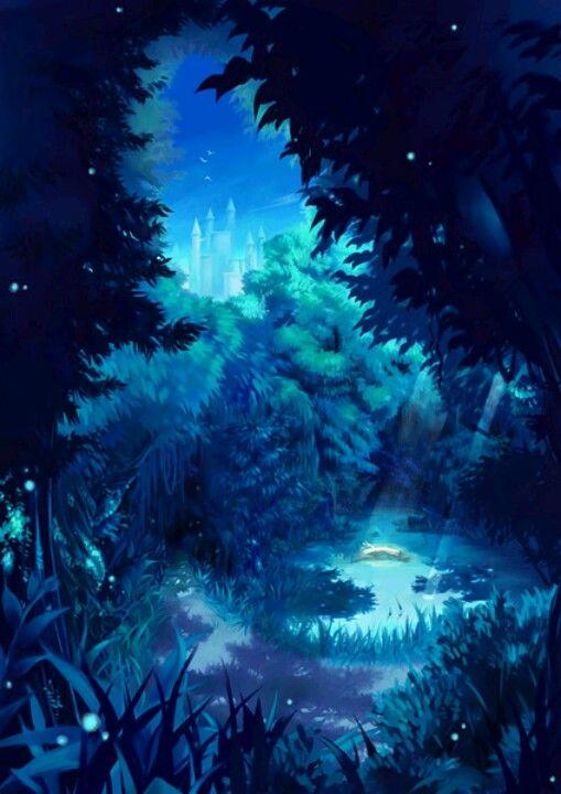 Night Forest Anime Art Beautiful Anime Scenery Fantasy Landscape