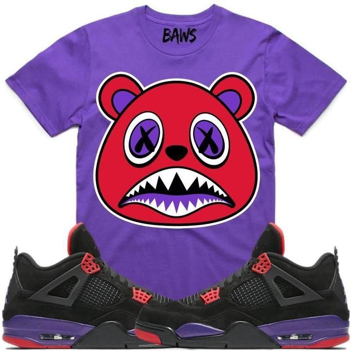 00332667e52b Baws T-Shirt RAPTOR BAWS Purple Sneaker Tees Shirt - Jordan 4 Raptors