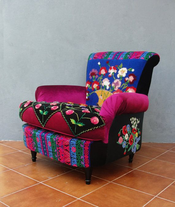 Merveilleux Embroidered Armchair Bohemian Wooden Furniture Vintage Embroidery Hand  Woven Fabric