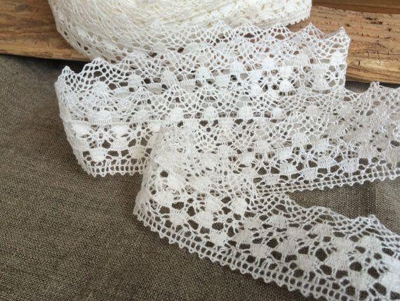 Floral edge trim lace natural white linen by TextileSupplies