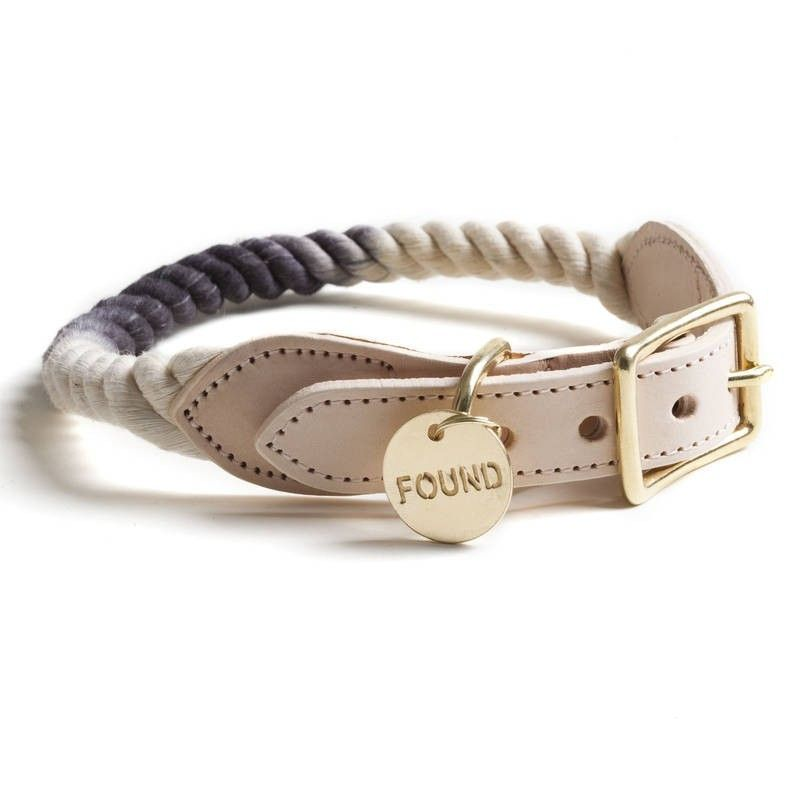 Found My Animal Rope Collar Black Ombre Leather Dog Collars