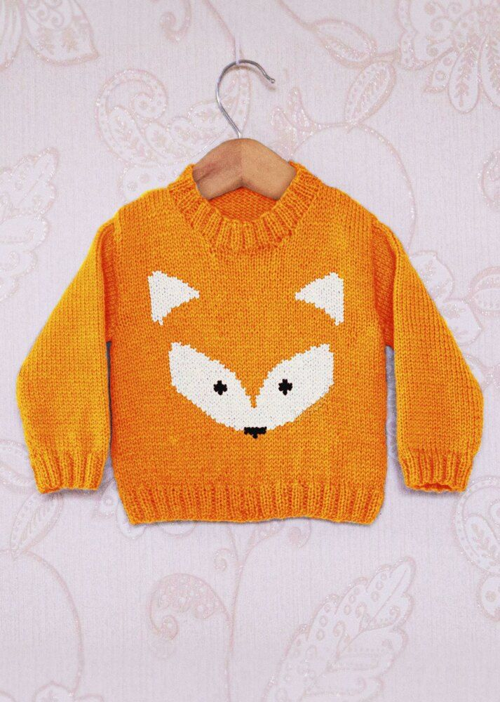 Intarsia - Fox Face Chart & Childrens Sweater Knitting pattern by Instarsia #children'ssweaters
