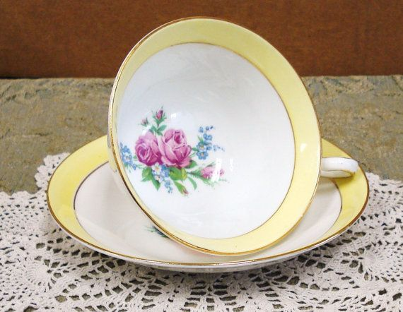 Vintage ROSINA China Yellow Porcelain Tea Cup And  by npebaysale, $15.00