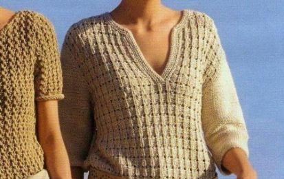 Lavori a maglia per creare una maglietta con scollo a polo - Nell articolo  troverete ef48f6b448eb