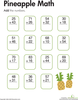 Pineapple Math Two Digit Addition Worksheet Education Com 2nd Grade Math Worksheets Second Grade Math Addition Worksheets