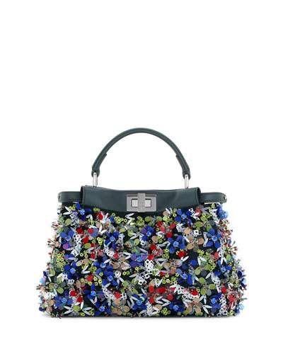 556dcf527de4 ... new styles 4617d 7f8d5 FENDI Peekaboo Small Floral Sequin Satchel Bag