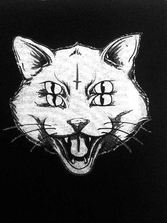 four eye cat patch, punk patch, horror, black | 時裝 in 2019 | art