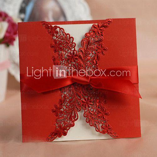 """Dobra-Portão Convites de casamento Cartões de convite Estilo Clássico / Estilo Floral Papel de Cartão 6""""×6"""" (15*15cm) Laços de 2016 por R$125.69"""