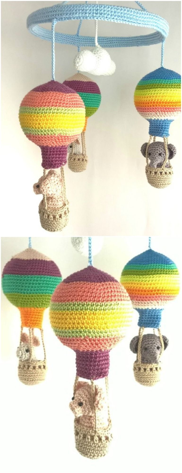 You Will Love This Crochet Baby Hot Air Balloon Mobile