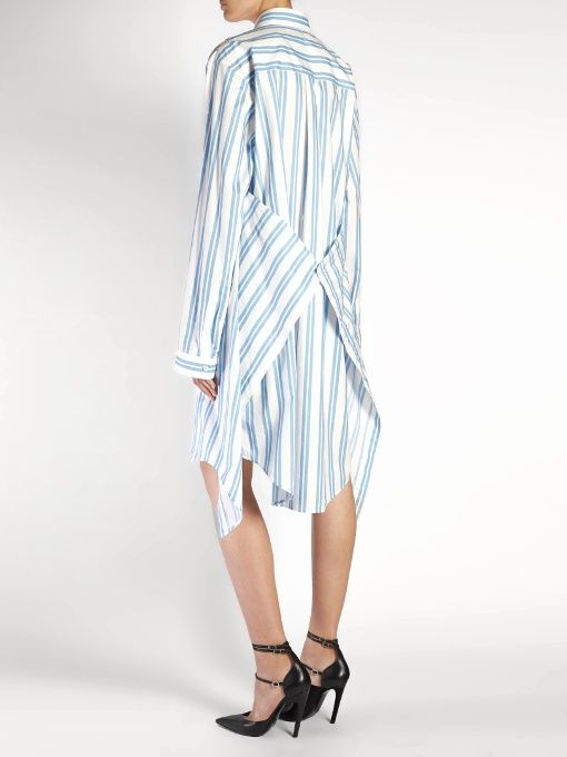 914e935294 Balenciaga Fold-back striped shirtdress