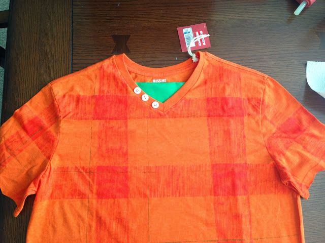 Wreck It Ralph DIY shirt: Added a little green fabric at the neck and a few buttons to a orange T-shirt. Use a red fabric marker and some painters tape to make it plaid. #wreckitralph