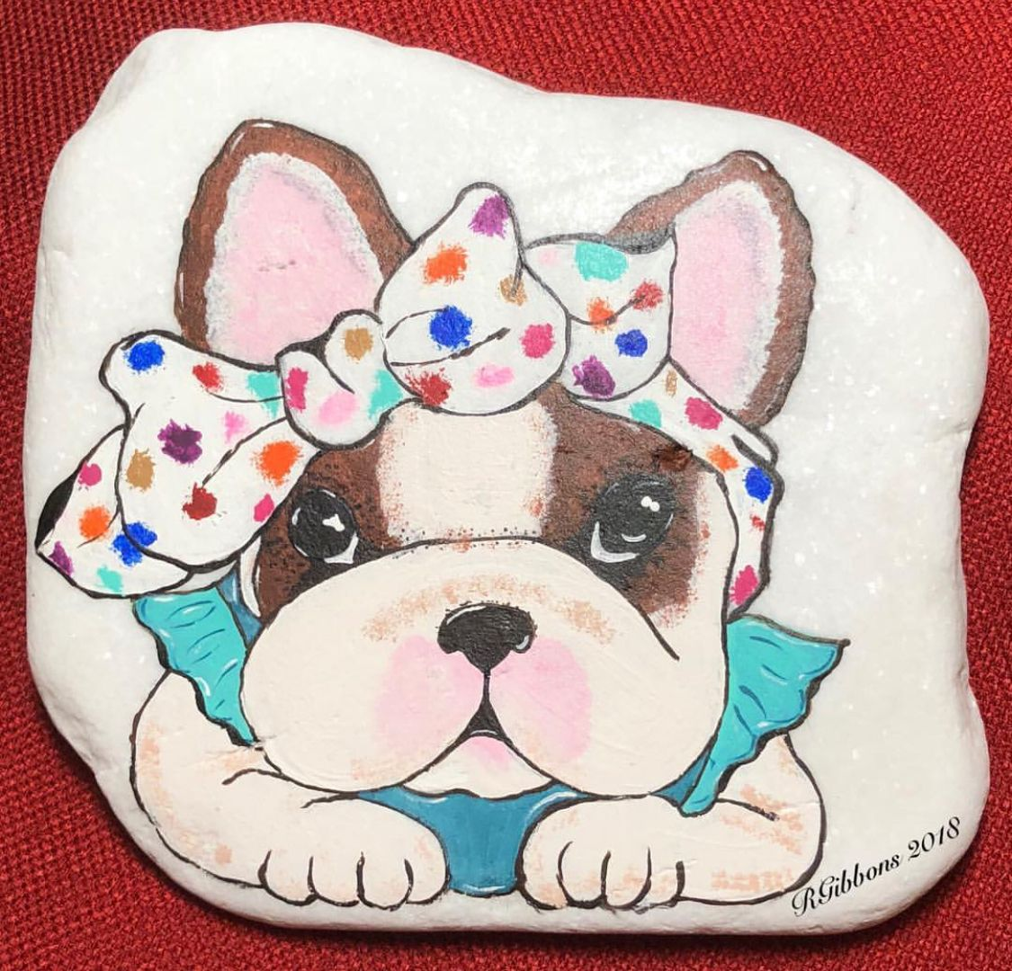 Pretty Bulldog With Bow Painted Rock Rock Painting Designs Rock Crafts Painted Rocks