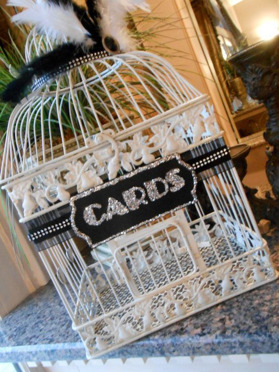 Personalised White Wedding Post Box Sign Bird Cage And Solid Heart 18 Colours