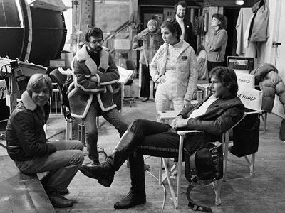 Star Wars: Episode V - The Empire Strikes Back, Carrie Fisher, ... | Executive producer George Lucas pays a visit to the set to check in with stars Mark Hamill, Carrie Fisher, and Harrison Ford