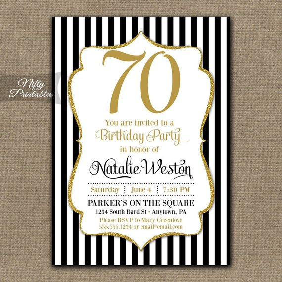 70th birthday invitations black gold glitter 70 seventy or any