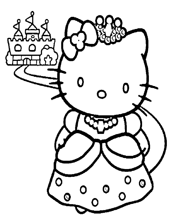Hello Kitty And A Nice Castle Coloring Page Hello Kitty Coloring Hello Kitty Coloring Hello Kitty Colouring Pages Kitty Coloring