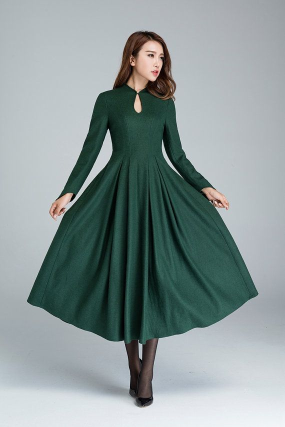 Green wool dress, prom dress, midi dress, wool dress, elegant dress ...