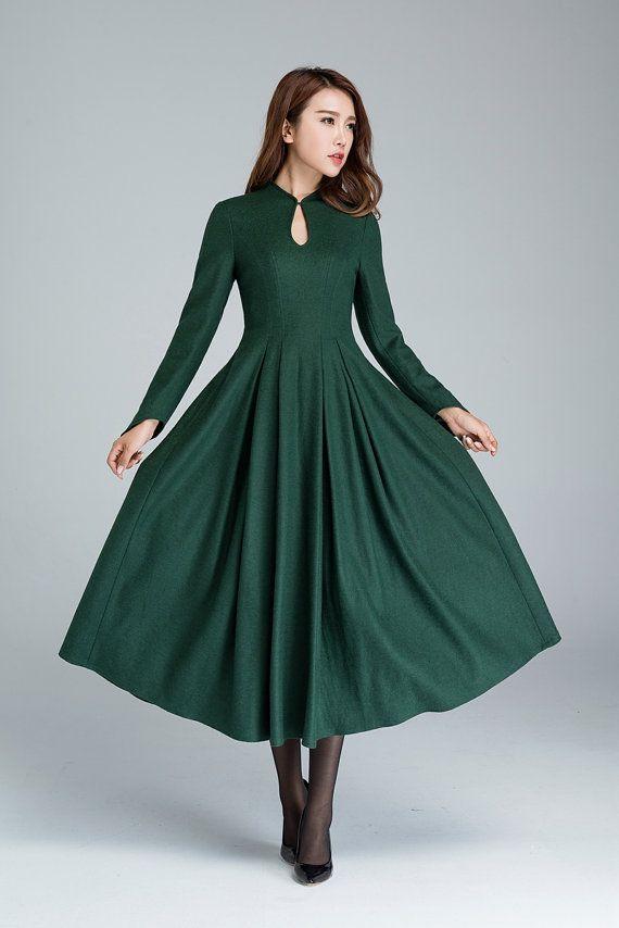 grüne Wollkleid elegantes Kleid Ballkleid Partykleid von ...