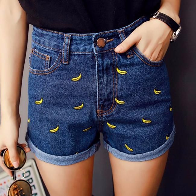 625ad04c5c Summer women shorts with bananas Women's waist shorts casual short pants  Jeans woman