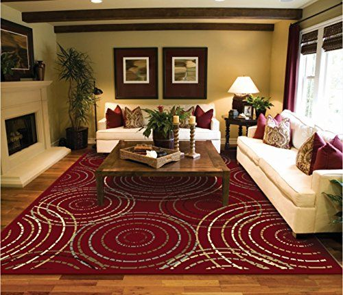 Large Red Modern Rug For Living Room Reds 8x11 Rugs Circles Contemporary Area 8x10 Clearance Under 100