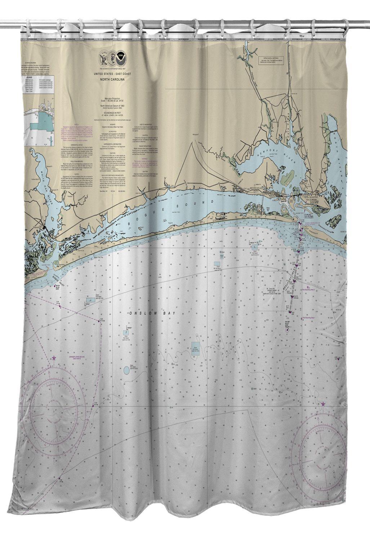 Nc Bogue Sound Nc Nautical Chart Shower Curtain Nautical Chart