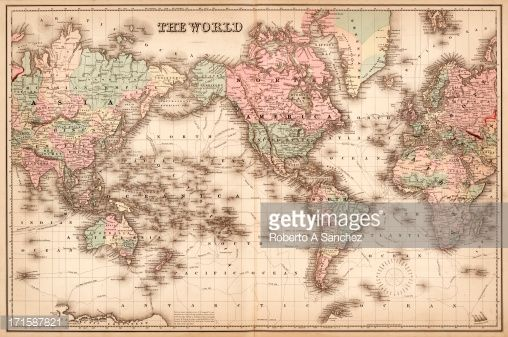 Stock Photo : map of the world 1855