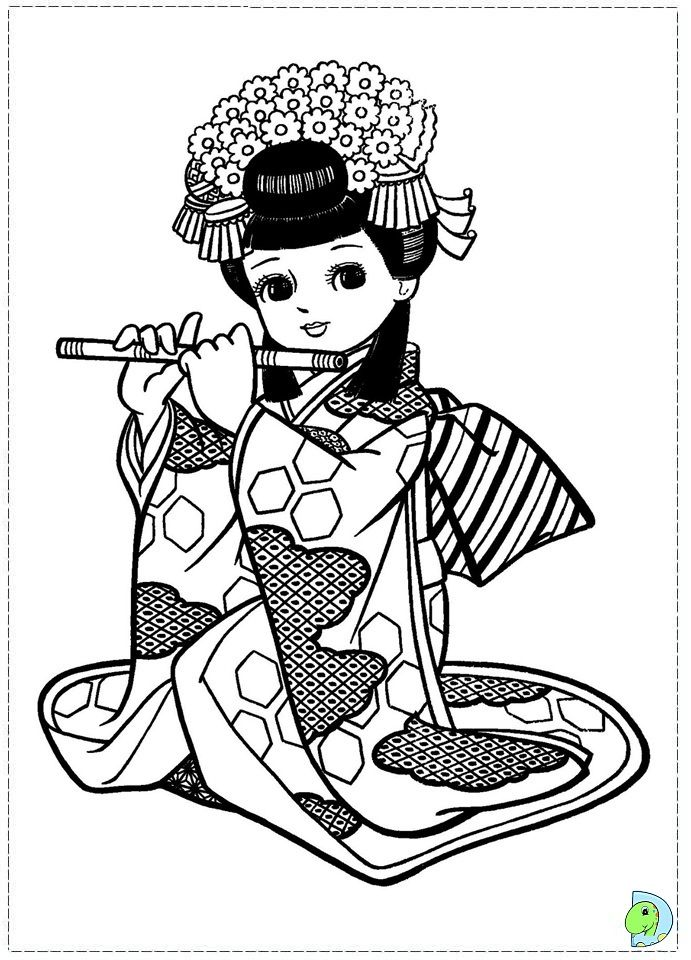 Japanese girl coloring page  Asian Coloring Pages  Pinterest