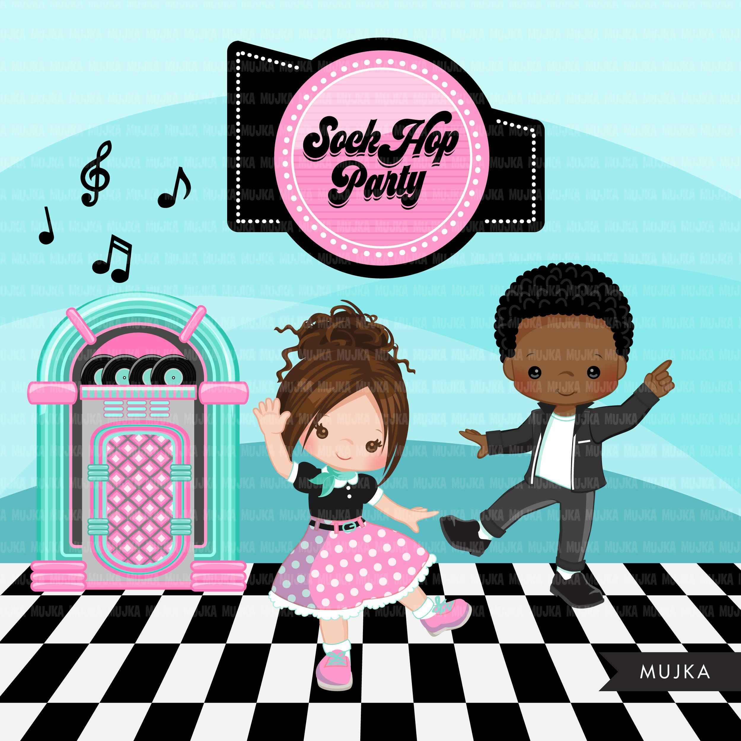 hight resolution of sock hop party clipart 50 s retro diner jukebox etsy