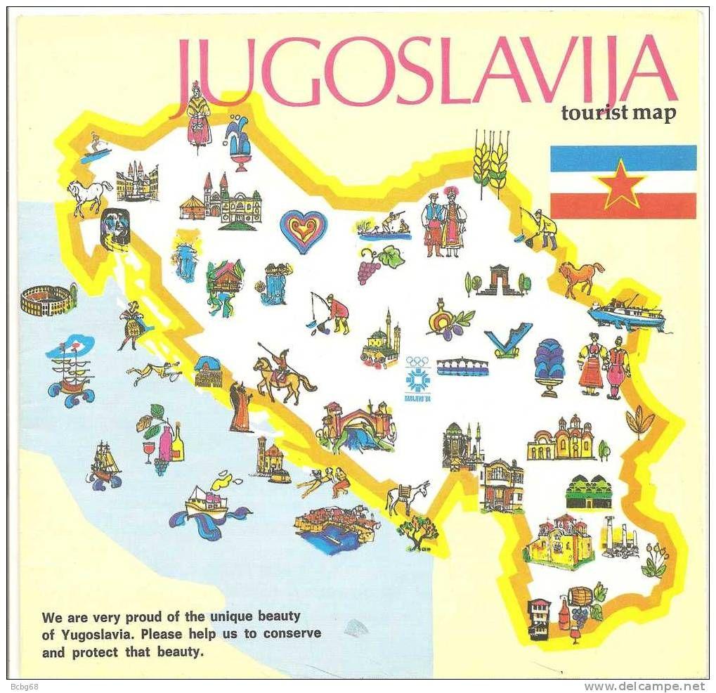1982 Tourist Map Of Yugoslavia Map Map Yugoslavia