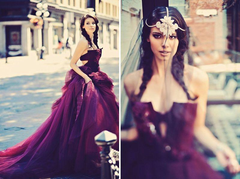 Plum Wedding Inspiration Featuring A Deep Purple Vera Wang Gown And ...
