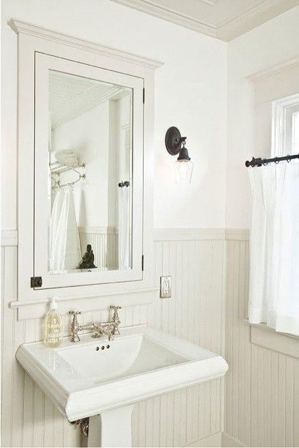 Wainscoting With Inset Medicine Cabinet Kohler Memoirs Pedestal Sink Paint Is Bm Af 685 Thun Cottage Bathroom Inspiration Beadboard Bathroom Cottage Bathroom