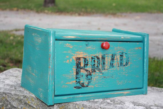 Turquoise Bread Box Vintage Farmhouse Chic Wooden Roll Top Bread Box  Red  Shabby Chic